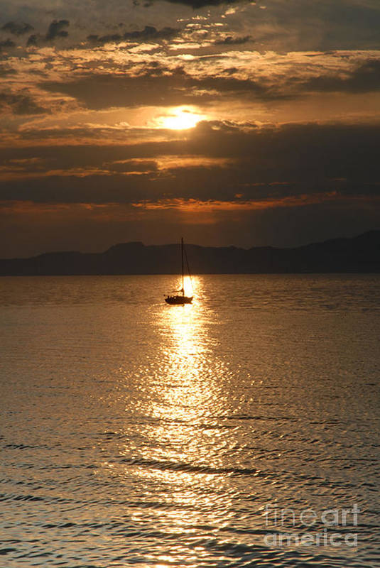 Great Salt Lake Art Print featuring the photograph Sailing The Great Salt Lake At Sunset by Dennis Hammer