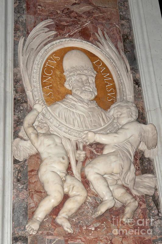 Tondo Art Print featuring the photograph Saint Damasus Tondo In Saint Peter's Basilica by Fabrizio Ruggeri