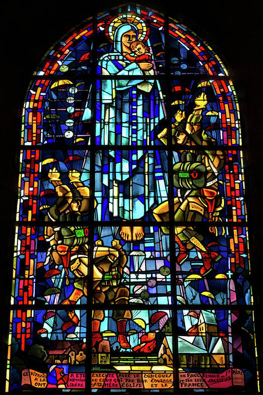 Sainte Mere Eglise Paratrooper Tribute Stained Glass