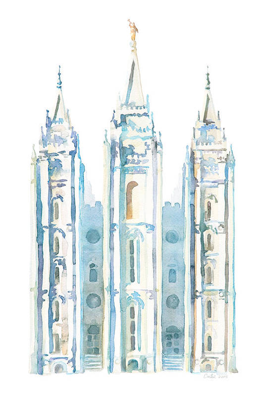 Salt Lake City Temple Art Print featuring the painting Salt Lake City Watercolor Blue by Tausha Coates