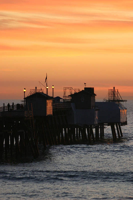 Sunset Print featuring the photograph San Clemente Pier Sunset by Brad Scott