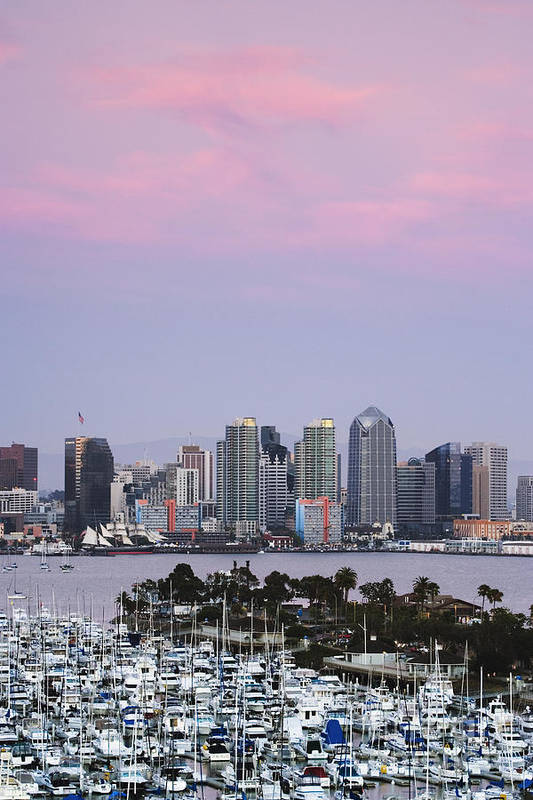 Architecture Art Print featuring the photograph San Diego Skyline And Marina At Dusk by Jeremy Woodhouse