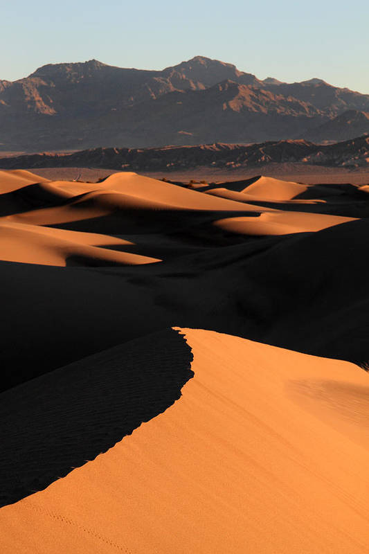 Death Valley Art Print featuring the photograph Sand Dunes Sunrise Glow by Pierre Leclerc Photography