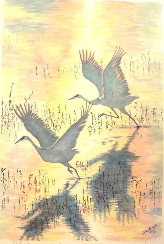 Cranes Taking Flight Art Print featuring the painting Sandhill Cranes by Dan Bozich