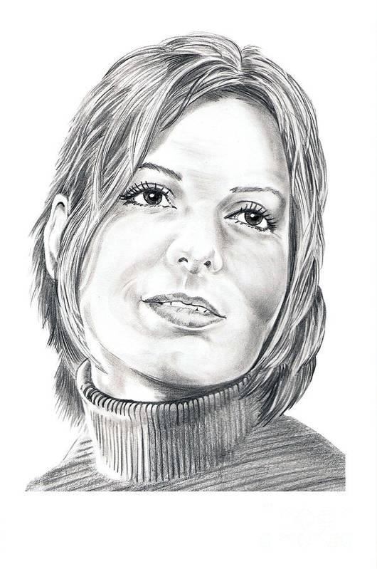 Drawing Art Print featuring the drawing Sandra Bullock by Murphy Elliott