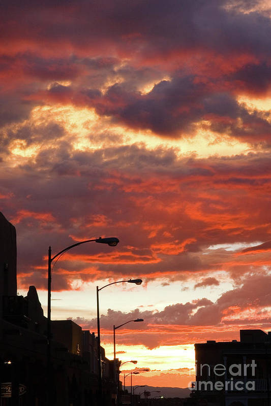 Cityscape Art Print featuring the photograph Santa Fe At Dusk New Mexico by Julia Hiebaum