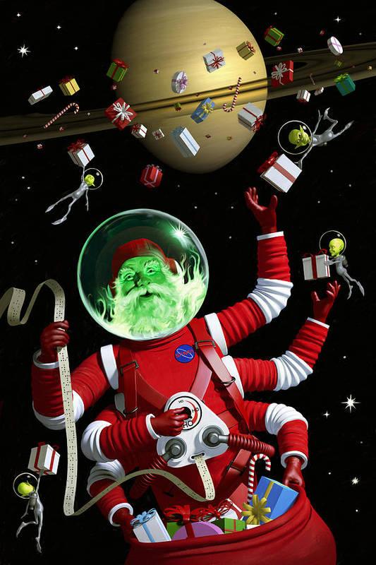 Santa Art Print featuring the digital art Santa In Space by Alex Tomlinson