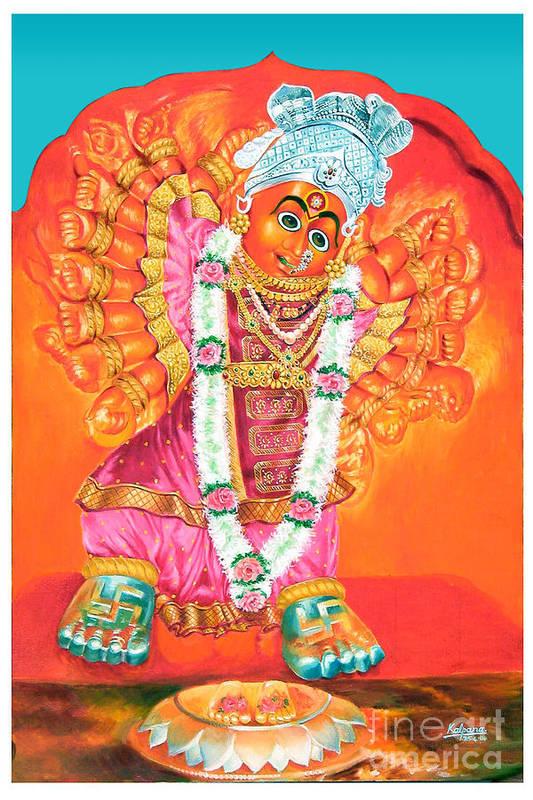 Saptashrungi Devi Nasik Art Print featuring the painting Saptashrungi Devi Nasik Maharashtra by Kalpana Talpade Ranadive