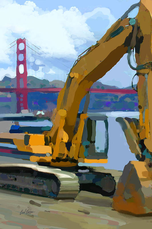 Bulldozers Art Print featuring the painting Scratcher by Brad Burns