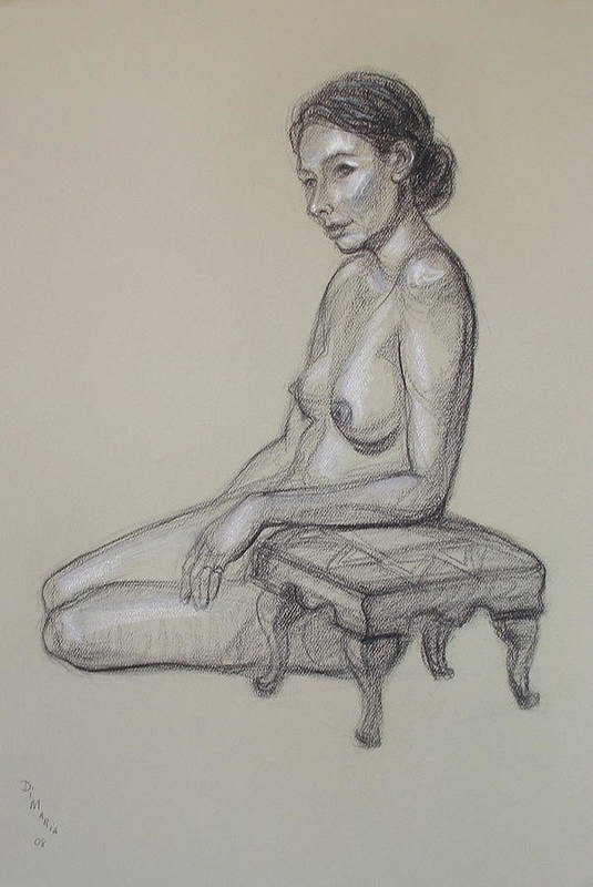 Realism Art Print featuring the drawing Seated Nude 3 by Donelli DiMaria