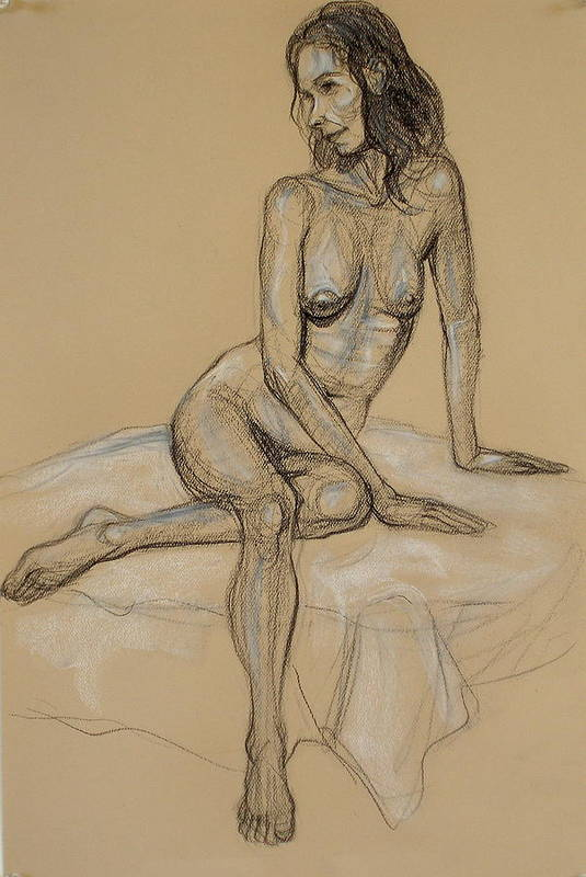 Realism Art Print featuring the drawing Seated Nude 4 by Donelli DiMaria