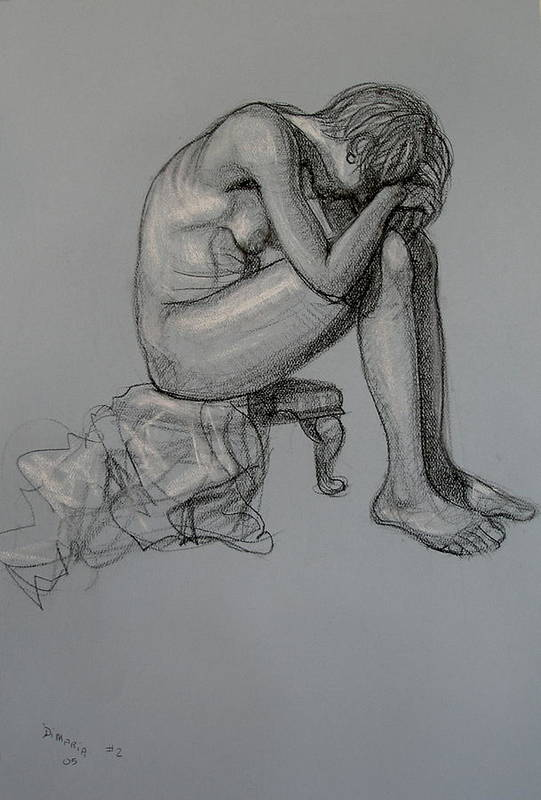 Realism Art Print featuring the drawing Seated Nude by Donelli DiMaria
