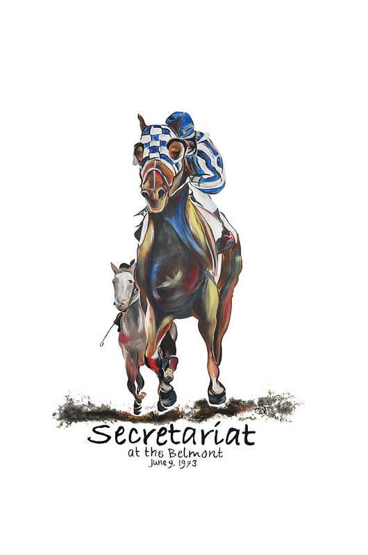 Secretariat Art Print featuring the painting Secretariat At The Belmont Mural by Amanda Sanford