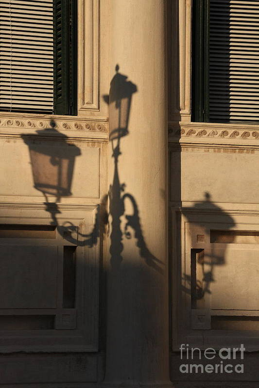 Venice Art Print featuring the photograph Shadow Of A Lamp Post In Venice by Michael Henderson