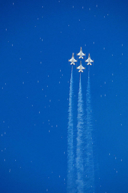 Aeroplane Air Airplane Blue Diamond Elite Fighter Force Four Jet Jets Military Perform Performance Pilot Plane Skill Sky Smoke Speed Strength Freedom Star Stars War Shooting Shoot Aim Up Brave Space Target Fast Art Print featuring the photograph Shooting Stars by Paul Ge