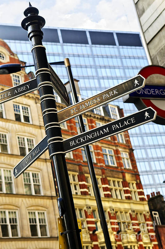 London Art Print featuring the photograph Signpost In London by Elena Elisseeva