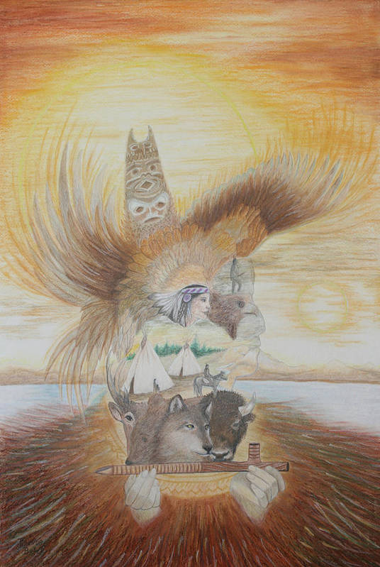 Native American Art Print featuring the painting Silhouette Of Indian Life by Brenda Baker