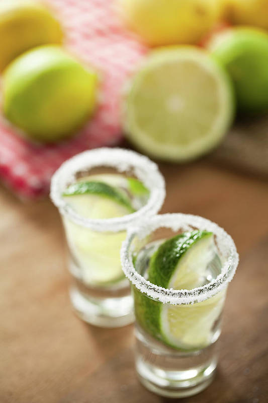 Vertical Art Print featuring the photograph Silver Tequila, Limes And Salt by by Marion C. Haßold, www.marionhassold.com