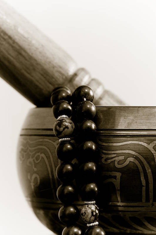 Buddhist Art Print featuring the photograph Singing Bowl And Mala by Edward Myers