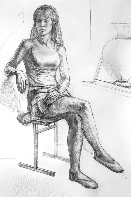 Ballerina Art Print featuring the drawing Sitting Ballerina by Natoly Art