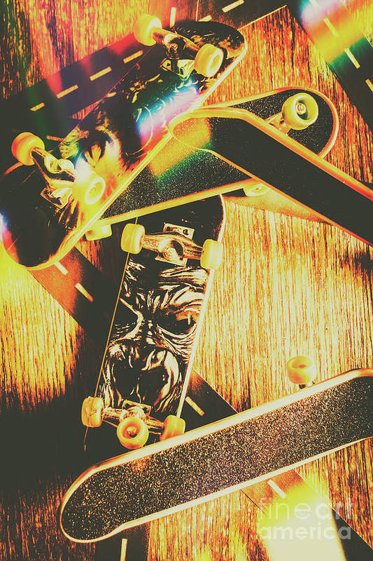 Skateboard Art Print featuring the photograph Skateboarding Tricks And Flips by Jorgo Photography - Wall Art Gallery