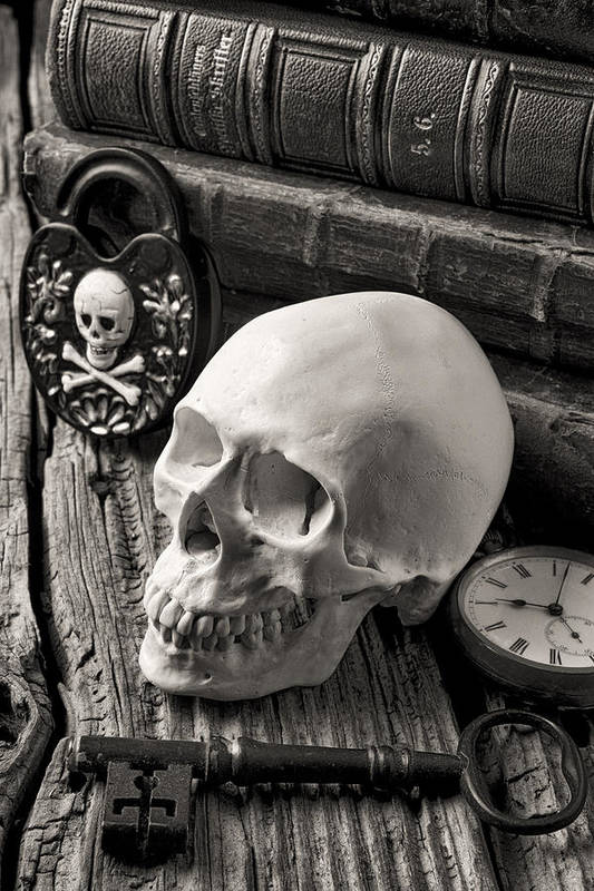 Skull Art Print featuring the photograph Skull And Skeleton Key by Garry Gay