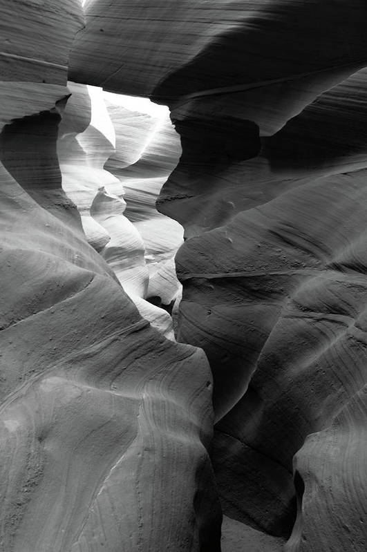 Slot Canyon Art Print featuring the photograph Slot Canyon Black And White by Scott Sawyer