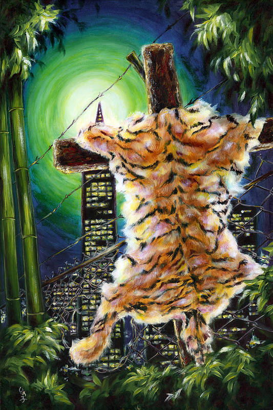 Tiger Art Print featuring the painting Slough... What I Have Left Behind The Fence To Survive In This Strange City by Hiroko Sakai