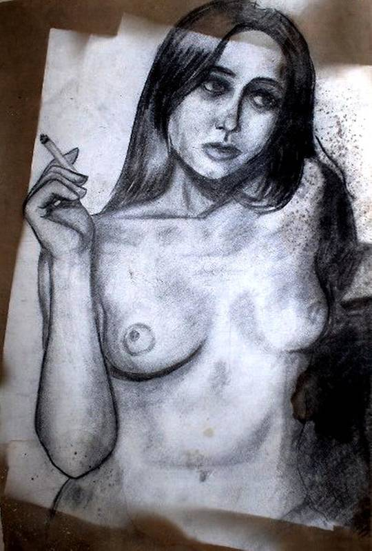 Nude Art Print featuring the drawing Smoker by Thomas Valentine