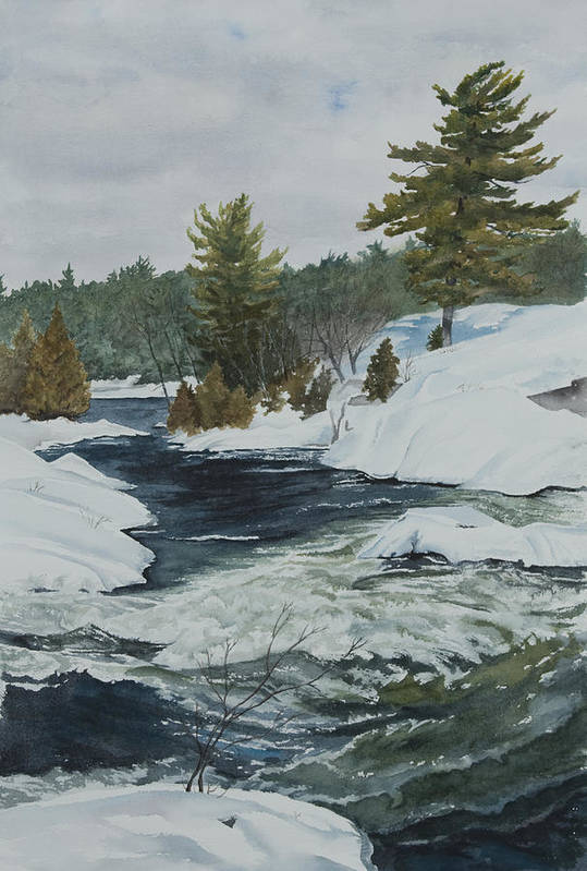 Snow Art Print featuring the painting Snow And Islands by Debbie Homewood