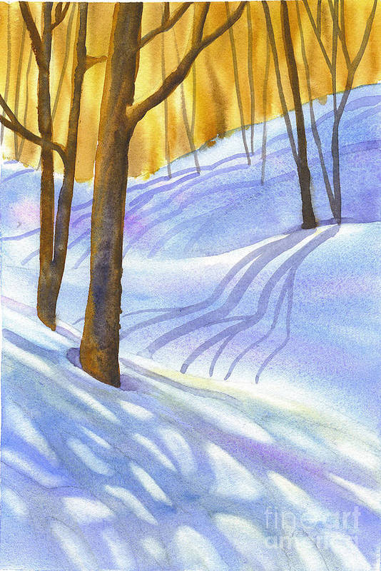 Snow Art Print featuring the painting Snow-shadows by Nancy Newman