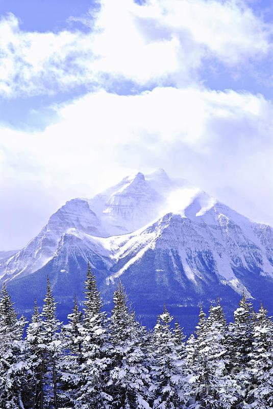 Mountain Art Print featuring the photograph Snowy Mountain by Elena Elisseeva