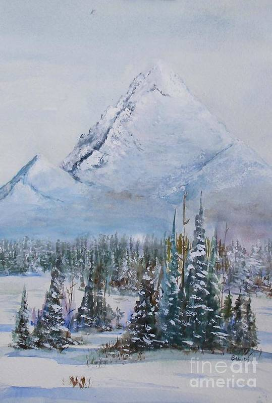 Snow Art Print featuring the painting Snowy Peaks by Sibby S