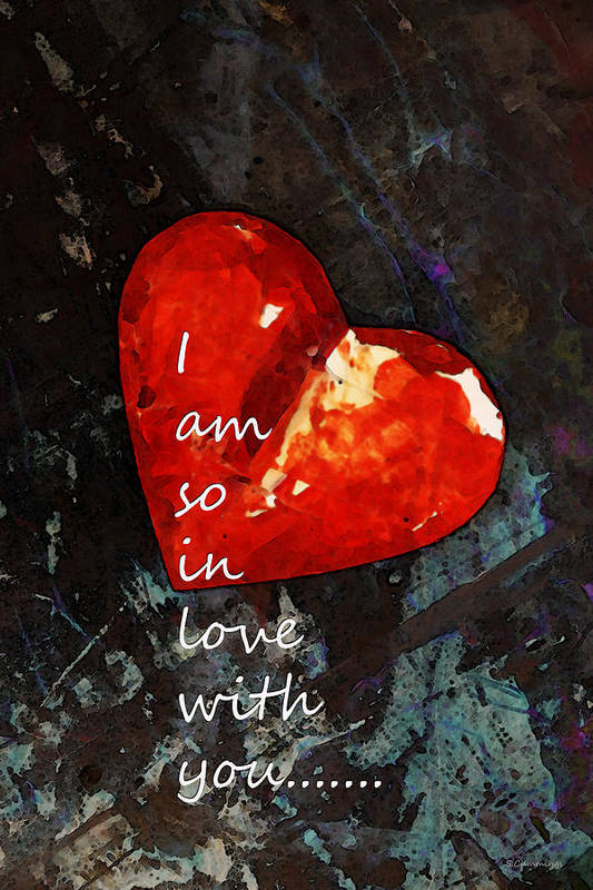 Heart Art Print featuring the painting So In Love With You - Romantic Red Heart Painting by Sharon Cummings