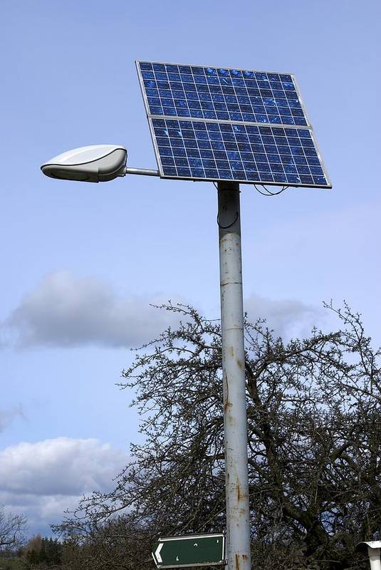 Solar Panel Art Print featuring the photograph Solar Powered Street Light, Uk by Mark Williamson