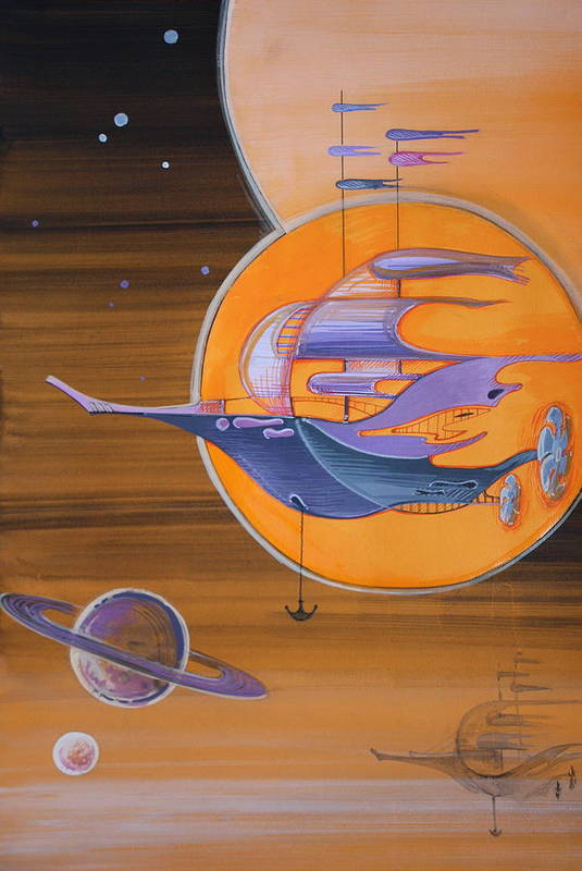 Space Art Print featuring the painting Space Ships by Nadia Gallagher