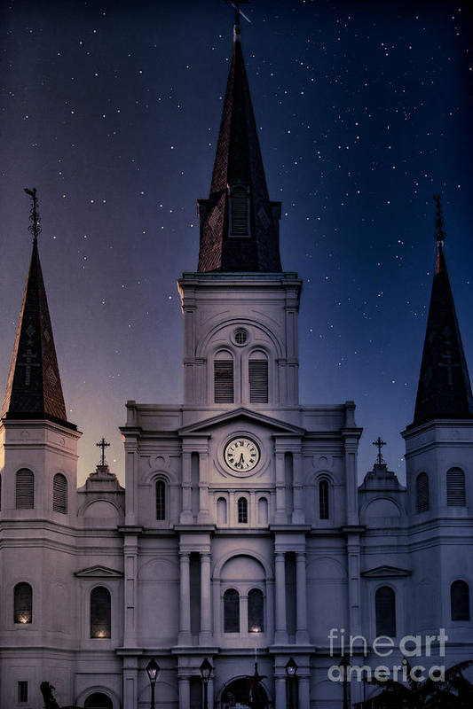 Nola Art Print featuring the photograph St. Louis Cathedral At Night by Jarrod Erbe