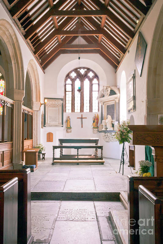 St Mylor Art Print featuring the photograph St Mylor South Aisle Chapel. by Terri Waters