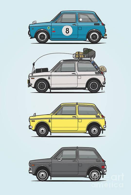Stack Of Honda N360 N600 Kei Cars Art Print By Monkey Crisis On Mars