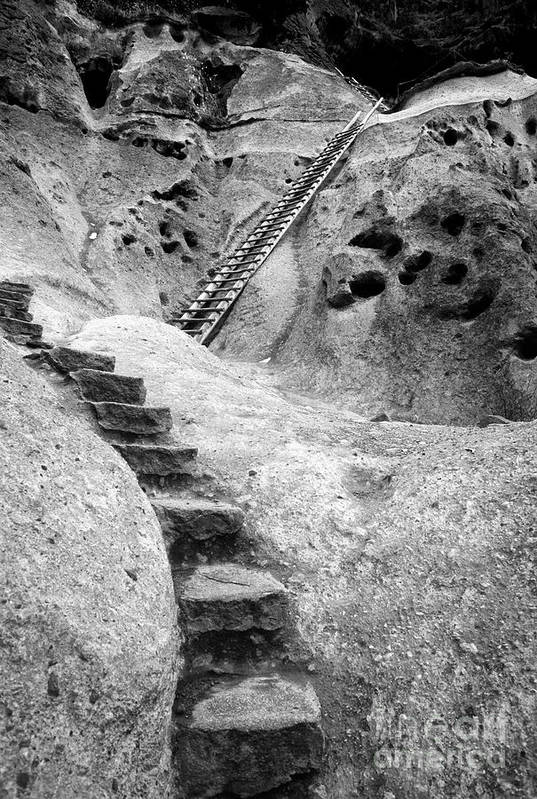 B&w Art Print featuring the photograph Stairways To The Kiva by Sandra Bronstein