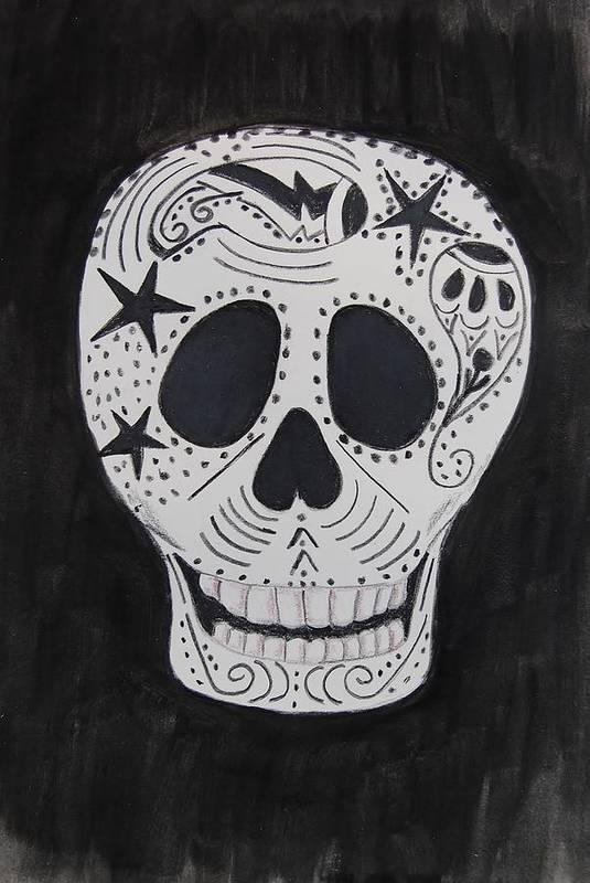 Skull Art Print featuring the mixed media Star Skull by Charla Van Vlack