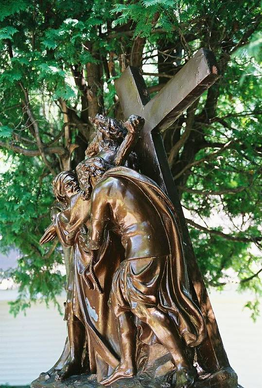 Religious Statue Art Print featuring the photograph Station Of The Cross by Cheryl Martin