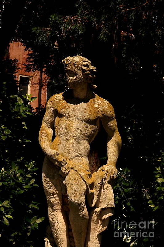 Venice Art Print featuring the photograph Statue In The Garden In Venice by Michael Henderson