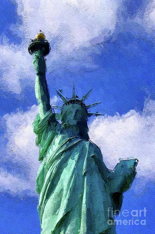 New York City Skyline Statue of Liberty Painting Art Print by Artist DJ Rogers