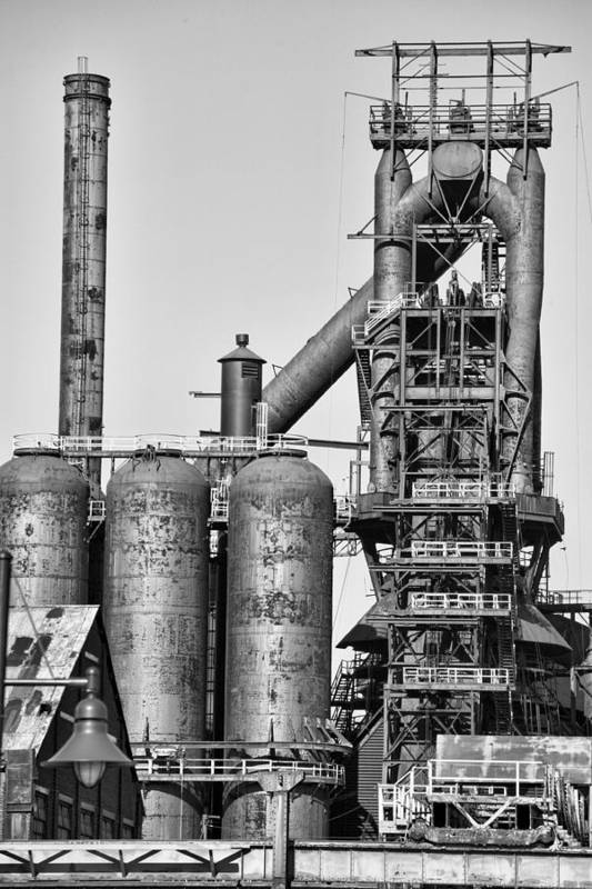 Bethlehem Print featuring the photograph Steel Blast Furnace Bw by Chuck Kuhn