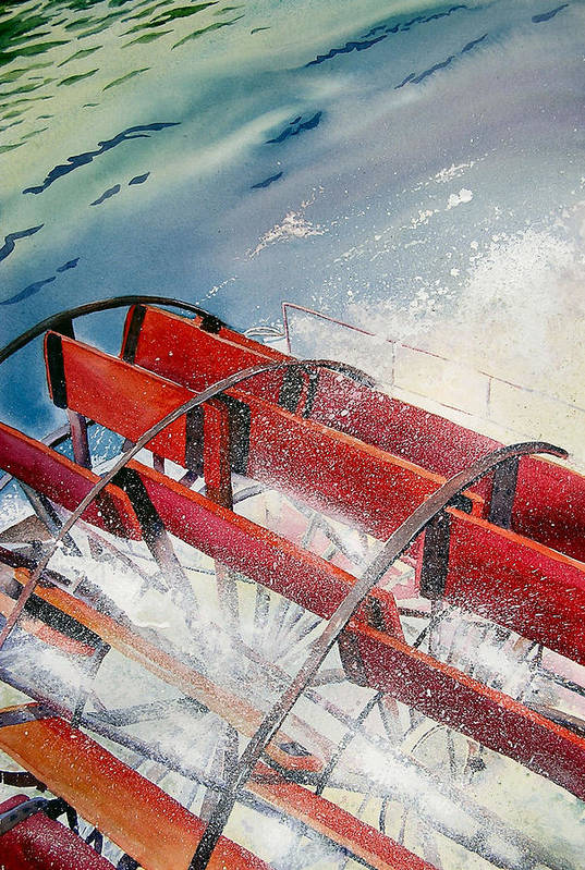 Paddlewheeler Art Print featuring the painting Sternwheeler Splash by Karen Stark