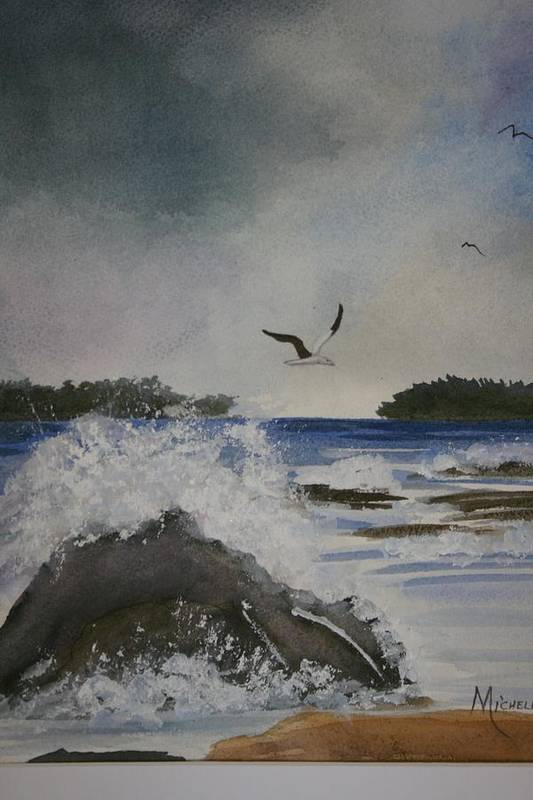 Ocean Art Print featuring the painting Stormy Inlet by Michele Turney
