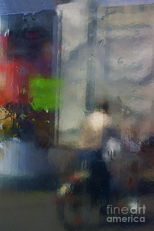 Abstract Art Print featuring the photograph Street With Motorcyclist. by Alexander Vinogradov