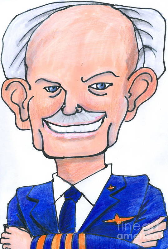 Caricature Art Print featuring the drawing Sully Sullenberger Caricature by Stan Levine