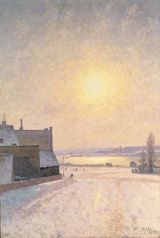 Sun Art Print featuring the painting Sun And Snow by Per Ekstrom